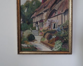 English cottage and garden original painting in frame