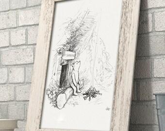 Mr. Sanders' Campfire - Winnie the Pooh 11x14 Unframed Nursery Art Print