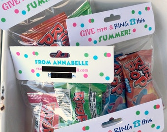 """Ring Pop """"Give Me a Ring This Summer"""" Printable Treat Bag Toppers (Customized) -- Perfect for End of School Gifts,  Birthdays, or Favors"""