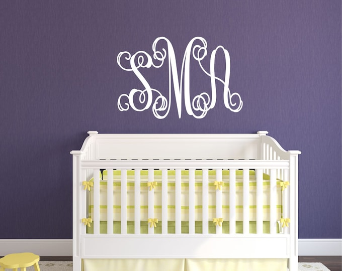 Custom Monogram Wall Decal // Personalized Decal // Bedroom Decal // Initials Art // Wall Decor // Nursery Wall Decal // Wall Art