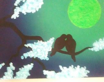 "12x16 ""Love Birds"" acrylic painting w/ glow in the dark moon"