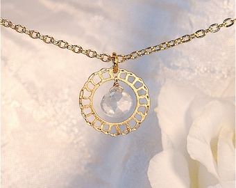 Lacy Gold Minimal necklace with Aquamarine, Delicate necklace, Gold jewelry, Modern jewelry