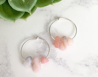 Peruvian Opal Hoop Earrings - Sterling Silver Gemstone Earrings - October Birthstone Jewelry