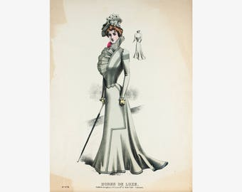 Victorian Fashion Plate Lovely Dress Hat Afternoon Walk Robes De Luxe N.678