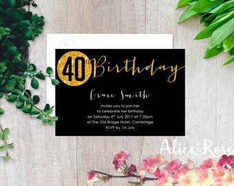 Sparkly Printable Birthday Party Invitation