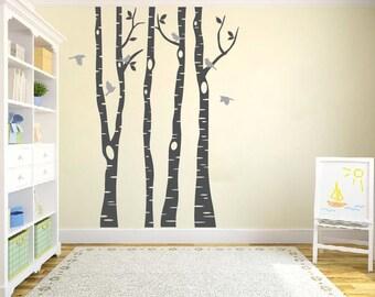 Birch Tree Wall Decals, Birch Tree Decals, 6 birds wall decal,Nursery Wall Decals, Children's room wall decals