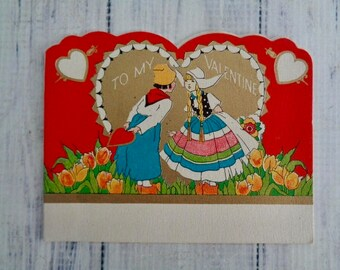 Antique Valentine Folded Style Card, 1920s Art Deco Style Valentines Day Card