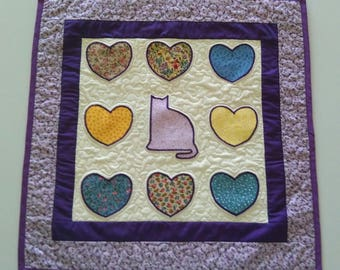 Baby Girl Nursery, Girl Bedroom, Cat Lover Quilted Wall Hanging, Table Topper