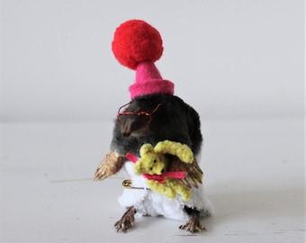 Anthropomorphic Taxidermy Baby Mole with teddy bear
