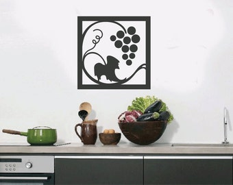 Grapes Vine Swirls Wall Quote Decal - Kitchen Decals - Restaurant Decoration - Vinyl Wall Decal  - KQ89