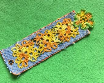 Crochet upcycled denim bracelet