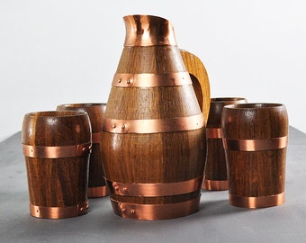 Stylish oak jug, copper, 4 cups, early 60s, unused