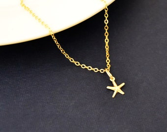 Gold Starfish Necklace, Tiny 14k Gold Fill, Dainty Gold Choker, Tiny Gold Starfish Pendant, Dainty Gold Jewelry, Tiny Charm Necklace