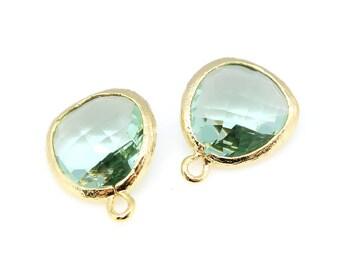 2pcs, P1750, Gold Plated, Erinite, Glass fancy rosecut 12.5mm, Glass pendant, Framed glass