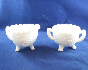 Set of Vintage Milk Glass Footed Sugar & Creamer with Grape Design