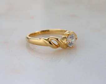Twist Gold Ring - Clear Crystal Gold Ring - Gift For Her - Solitaire Crystal Ring - Gold Ring - Size 7.5 Ring