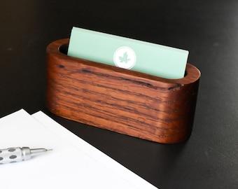 Wood Desktop Business Card Holder