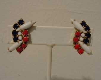 "vintage red, white & blue beaded clip earrings 1.25"" x .5"""