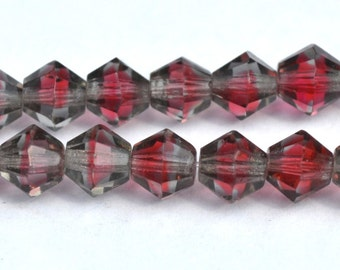 12 Vintage Cran Rasberry Givre Bicone Beads Faceted Glass
