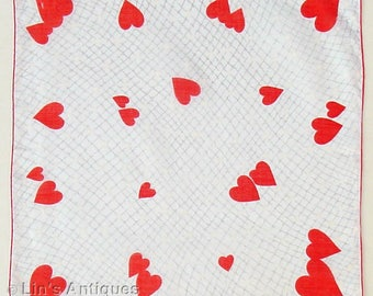 Vintage Valentine Hanky with Red Hearts and White Hearts 2 Available in Listing (Inventory #M2874)