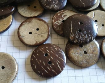 "Wood Buttons - Sewing Button - Coconut Wooden Two Holes Buttons - 3/4"" Wide"