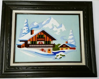 Swiss Chalet Winter Cabin Crewel Embroidery Yarn Picture