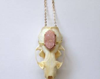 Real Mink Animal Skull Necklace With Pink Gemstone Handmade Taxidermy Oddities
