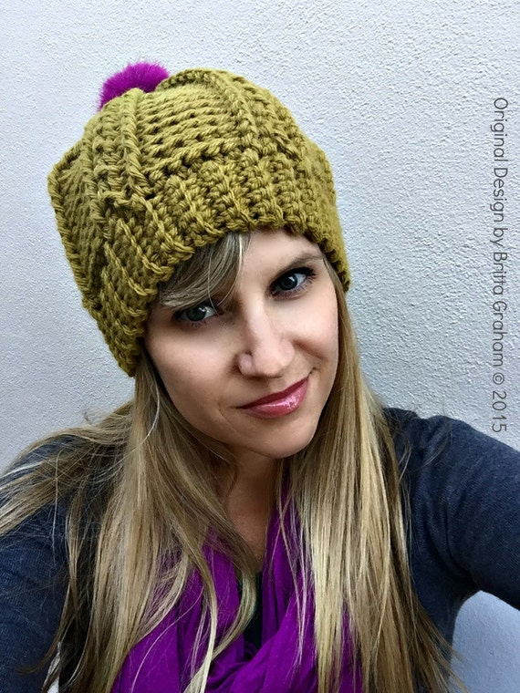 Womens Cable Beanie Crochet Pattern For Chunky Yarn No250