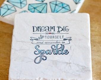 Inspirational Coasters// Diamond Coasters// Marble Coasters// Tumbled Stone Coasters// Drink Coaster// Hostess Gift// Tile Coasters
