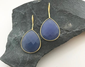 Blue onyx bezel set gold vermeil teardrop gemstone earrings