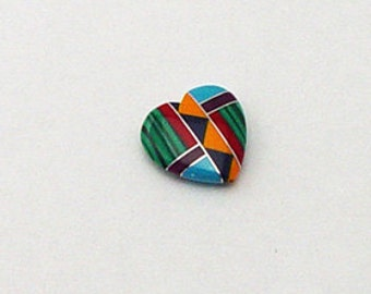 15mm Medium Inlay Gemstone Heart Bead Native American Inlaid Stones Turquoise Zuni Style Coral Sugilite Malachite Spiny Oyster Southwestern