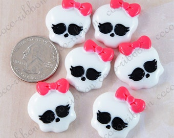 25mm 12 pieces White Skull with Hot Pink Bow Flatback Resin Cabochons C20