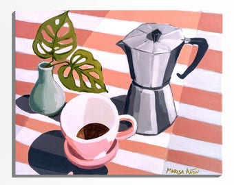 """Commission Painting, Original Painting for Coffee Lovers, Acrylic on Canvas, Plants Art, Marisa Añón, Direct from the Artist. 20x24"""""""