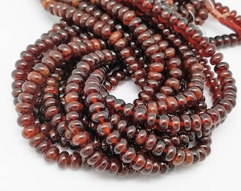 8mm Hessonite Garnet Smooth Buttons, 15 inch