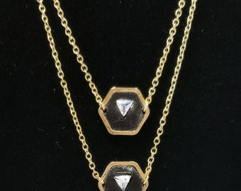 Trillion Black and Gold Hexigon Pendant Necklace - White Triangle Cut Zirconia