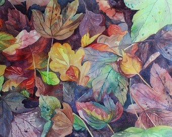 Original watercolour painting of Autumn leaves, colourful leaves, leaf painting, Fall art, painting of Autumn leaves