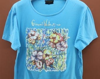 Vintage Gianni Valentino Floral T-Shirt Designer Fashion Casual Wear Top Tee Size L