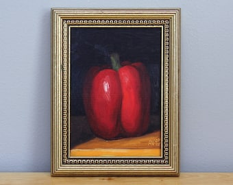 Red Pepper Framed Still Life Painting, original oil painting on board by Aleksey Vaynshteyn