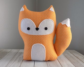 Fox stuffed animal toy in orange polka dot, stuffed toy fox, fox plush, woodland nursery decor, cute fox