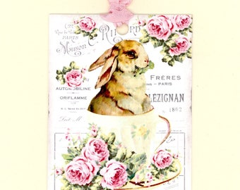 Rabbit Gift Tags, Bunny in a Tea Cup, French Tags, Vintage Style, Pink and White, Vintage Rabbit