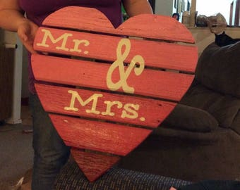 Wooden heart//wedding decorations//engagement party//love//shower//Mr. & Mrs.//Bride and Groom