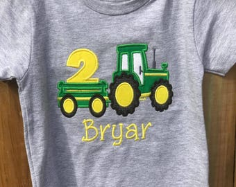 tractor trailer birthday shirt/Embroidered 2nd birthday tractor shirt/green and yellow tractor shirt/second birthday tractor shirt/farm