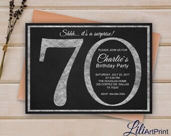 70th Birthday Invitation, Silver Invitation, Silver Glitter Birthday Invite, Digital file 8