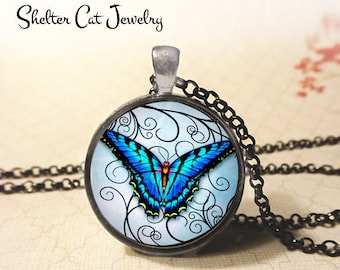 "Colorful Blue Butterfly on Swirls Pendant - 1-1/4"" Round Necklace or Key Ring - Handmade Wearable Photo Art Jewelry - Nature, Gift for Her"
