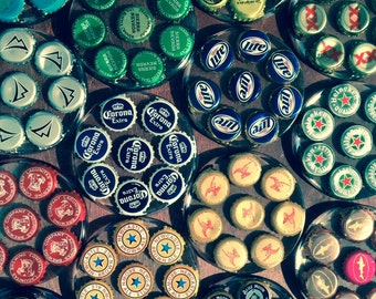 Custom Beer Bottle Cap Coasters - Set of 4 coasters from your choice of beer caps