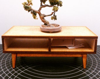 Mid century miniature dollhouse  low table, 1/12 scale