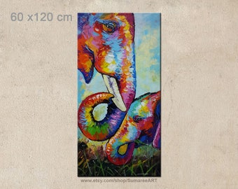 60 x 120 cm, Colorful Elephant Painting wall decor