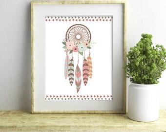 Boho Tribal Floral Dream Catcher Print - Instant Download - Nursery Decor - Wall Art
