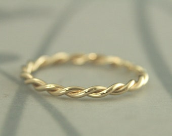 Gold Twist Ring~Solid 14K Gold Rope Band~Yellow Gold Ring~Women's Gold Band~Gold Wedding Band~Gold Wedding Ring~Solid Gold Stacking Ring