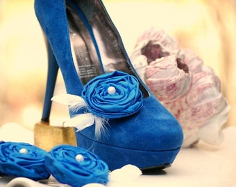 Something Blue Shoe Clips Royal Blue / Cobalt & Feathers. Handmade Wedding Bridal Couture Gift, Ivory White Pearl, More Champagne Aqua Green